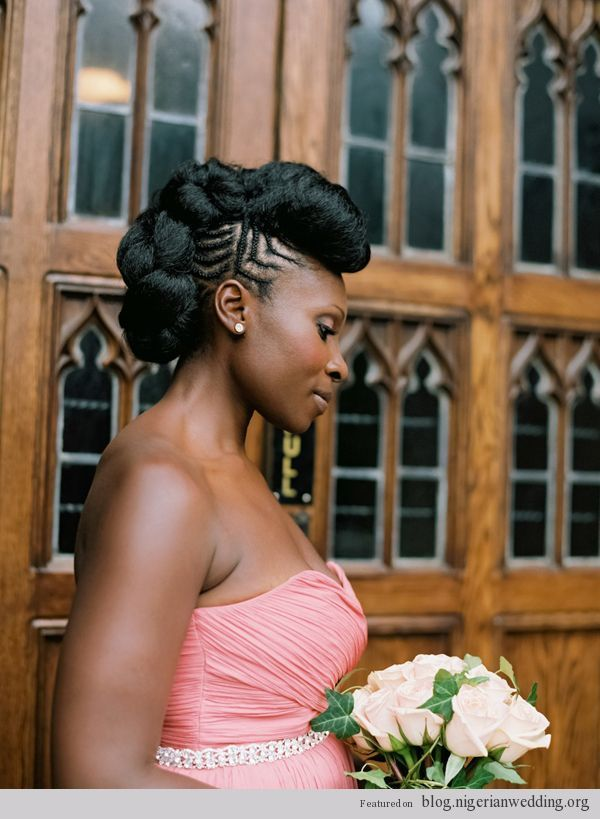 White and Gold Wedding. Bridesmaid Hair. Natural Hair. Carmen Santorelli bridal hair style