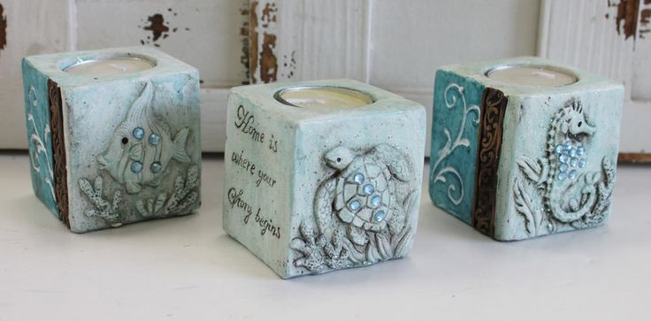 Nautical Candle Holders Set of 3 - Home is Where Your Story Begins - California Seashell Company