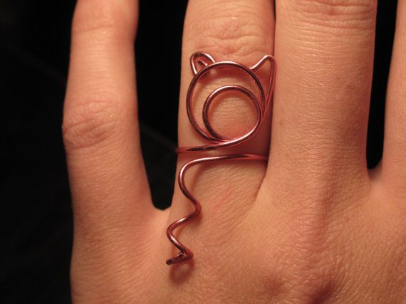 Wire Wrapped Adjustable Small Pig Head And Tail Ring by 1ofAkinds, $5.00