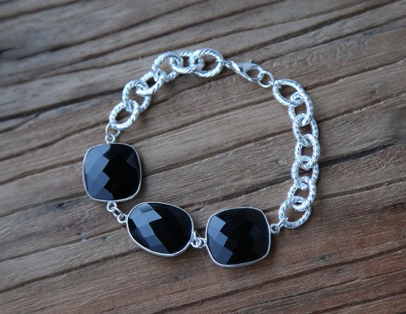 Black onyx and sterling silver plated chain bracelet