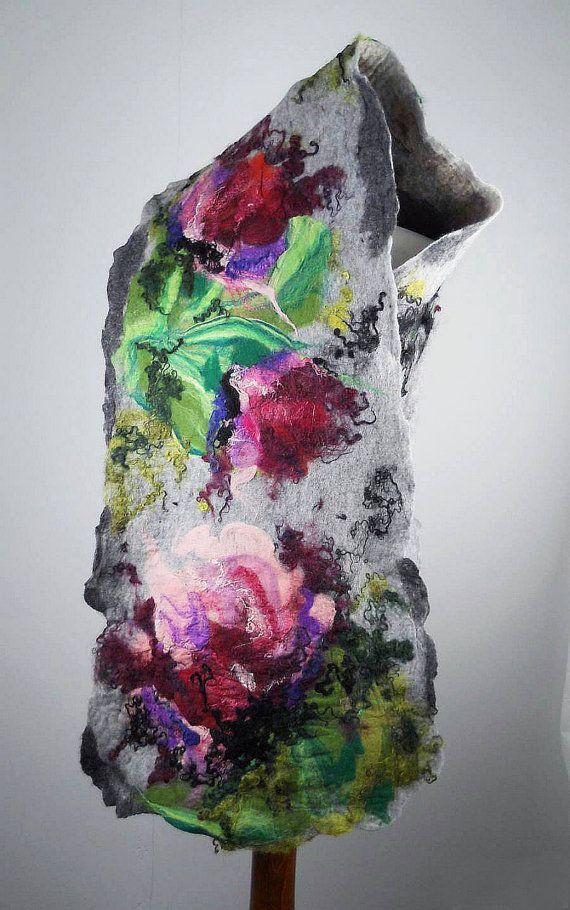 Grey Scarf Felted Scarf Wrap Scarves Felt Nunofelt Nuno felt Gray Scarf Silk Silkyfelted Eco shawl Fiber Art on Etsy, $139.00