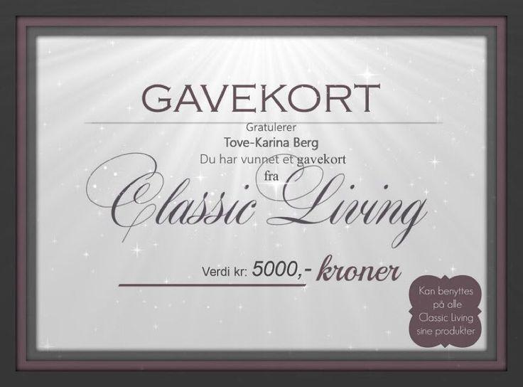 Vi har trukket en vinnerGRATULERER SÅ mye til Tove-Karina Berg med et gavekort på kr 5000- hos @classicliving. ................................................. Ta kontakt med oss på mail@classicliving.no :) Tusen hjertlig takk til alle som har delt vår julekalender  Vi ønsker dere alle en riktig god jul