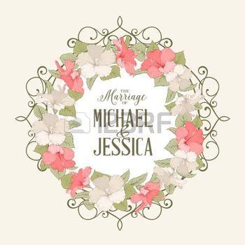 Rózsa, mályva koszorú fölött rózsaszín háttér házasság szöveget. Vektoros illusztráció. photo