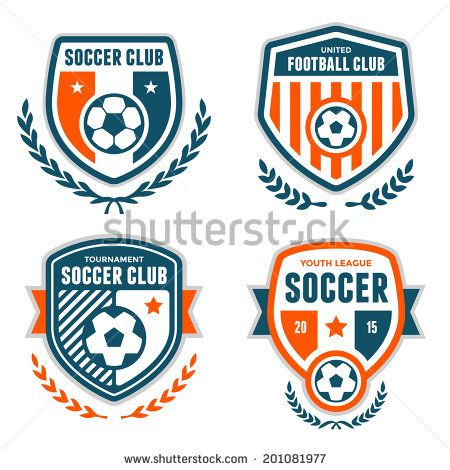 Set of soccer football crests and logo emblem designs - stock vector