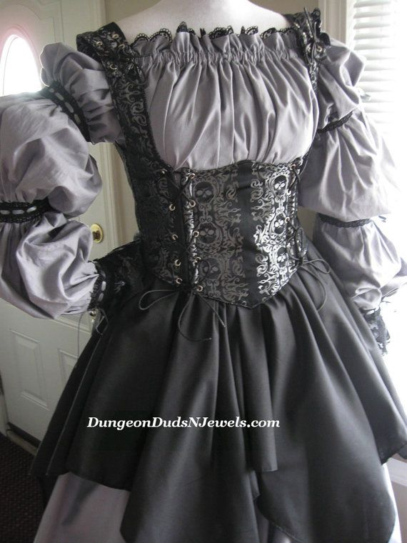 DDNJ Choose Fabrics 4pc Reversible Corset Style Bodice Chemise Skirts Plus Custom Made Any Size Renaissance Pirate Medieval Wench Gypsy