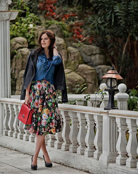 Mango Leather Jacket, Stradivarius Denim Shirt, Chi Chi Niamh Skirt, Zara Bag, Asos Heels