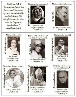 "Happy All Saints Day!  Play this ""Old Maid"" game about Beatitudes and Modern Day Saints!  Free Printable"