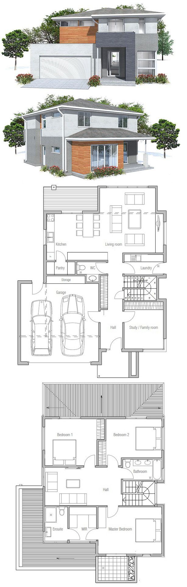 Best 25 two storey house plans ideas on pinterest house for Small modern house design with floor plan