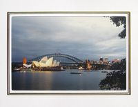 """Photo enlargement of the Sydney Opera House at Twlight, measuring 8"""" x 6"""" in a soft frame. You can buy this photo enlargement for $15.95 delivered. www.theshortcollection.com.au/page/photo-enlargement-small"""
