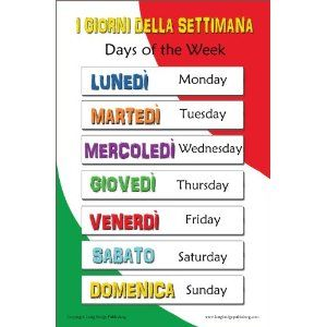 Italian Language Poster - Days of the Week Bilingual Chart for Classroom and Playroom (Office Product)