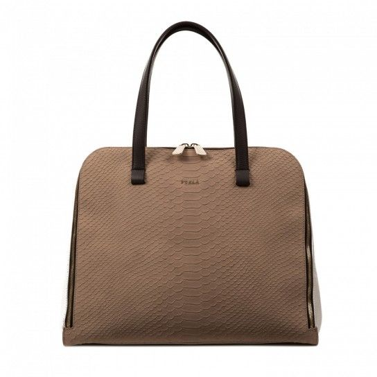shopping bag in pelle colore luna beige furla borse da donna con zip