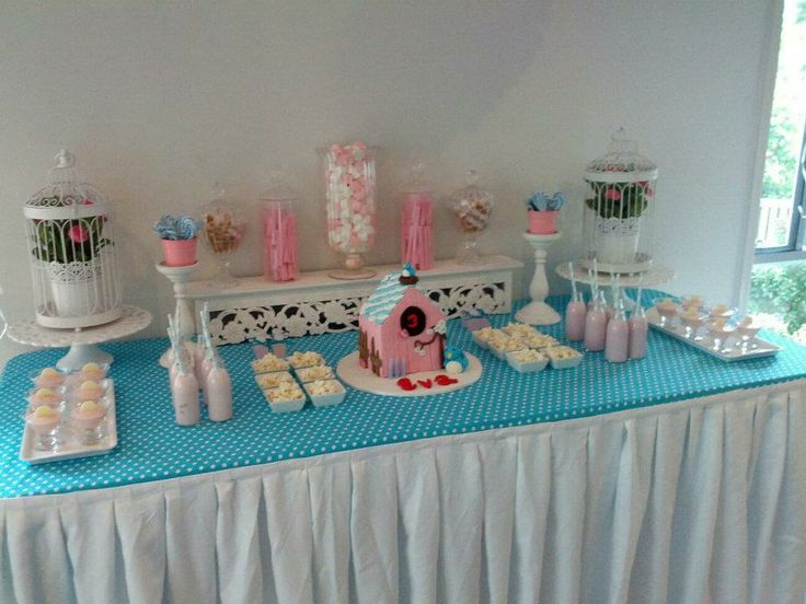 Little girls buffet with blue/pink theme and bird cake