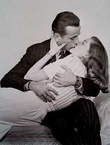 Lauren Bacall was an unknown 19 year old, and Humphrey Bogart was a 45 year old movie star when they met in Hollywood in 1944, during the filming of To Have and Have Not (Bacall's film debut). Bogart was instantly smitten with the gorgeous newcomer, while she was grateful that the vetern actor was so kind to her, and their romance began to blossom.