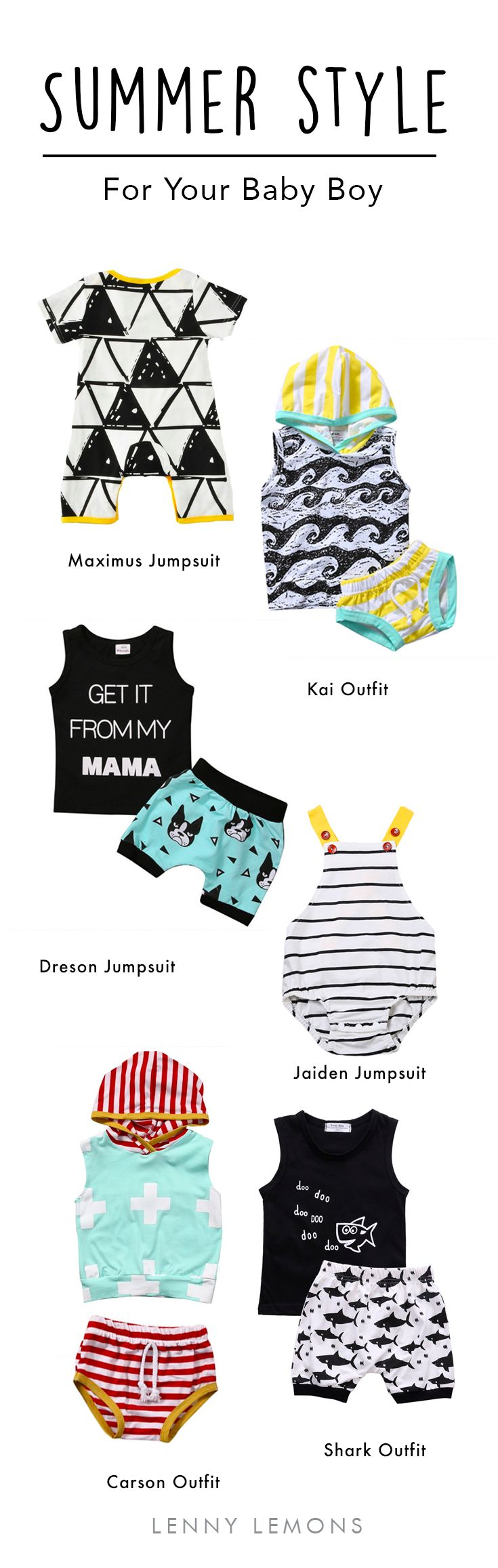 Super adorable clothes for your baby boys! Lenny Lemons.