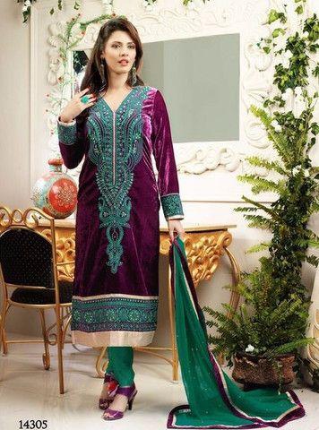 Rivaa Velvet 14305 - Purple & Green Color Velvet Designer Suit