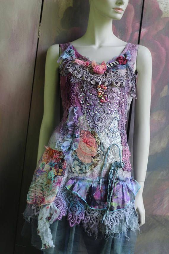 Artisan tunic shabby chic whimsy bohemian top vintage