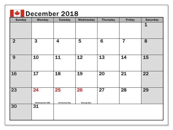 December 2018 Canada Holidays Calendar Calendar Printables