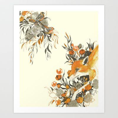 fox in foliage Art Print by Teagan White - $17.00