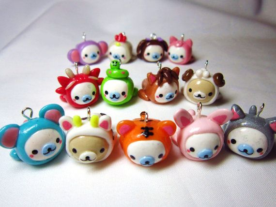 Mamegoma Charms Kawaii Costume Polymer Clay  Chinese by DoodieBear, $16.00