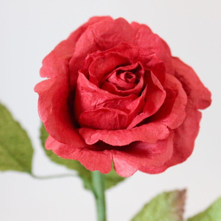 Medium Long Stemmed Paper Rose- Classic Red – Paper Flowers Australia