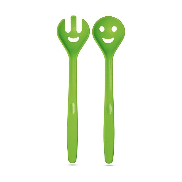 Coppia di posate per insalata in plastica con figure divertenti nelle estremità presentata in confezione trasparente