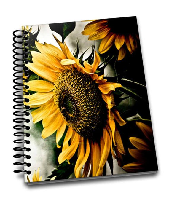 Sunflower  8 x 10 Coil Bound  Soft Cover Notebook  Lined