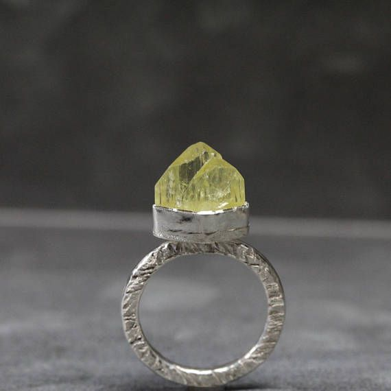Rough Lime Yellow Brazilianite Crystal Ring Rustic Silver