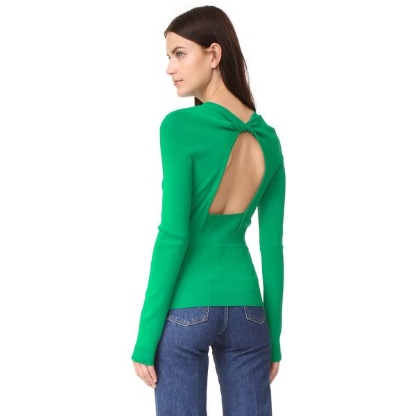 Rochas Long Sleeve Sweater ($210) ❤ liked on Polyvore featuring tops, sweaters, bright green, long sleeve crew neck sweater, green long sleeve top, cut out long sleeve top, cut-out shoulder sweaters and crewneck sweaters