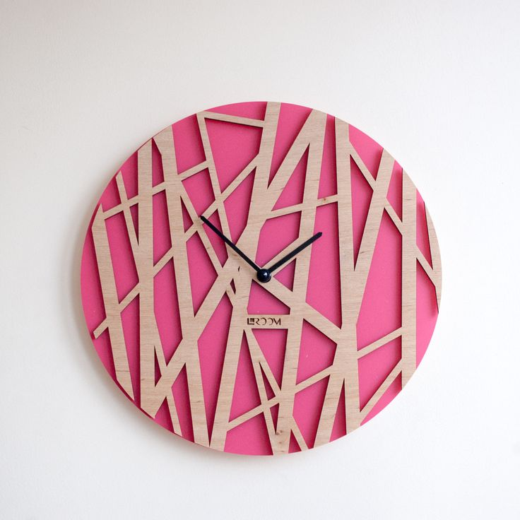 """Wood Wall Clock """"Bamboo"""", Pink, Modern Wall Clock  Large Wall Clock, Wooden Clock, Wood Decor Leaves Interior, hermle zen plywood, handmade by Lines4room on Etsy"""