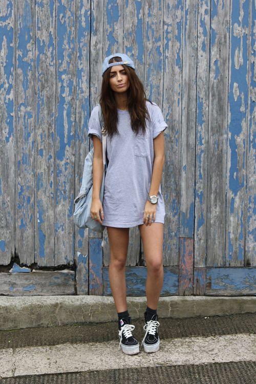 dress shirt, tube socks, low top slip on vans
