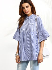 Blue Striped Ruffle Sleeve Babydoll Blouse