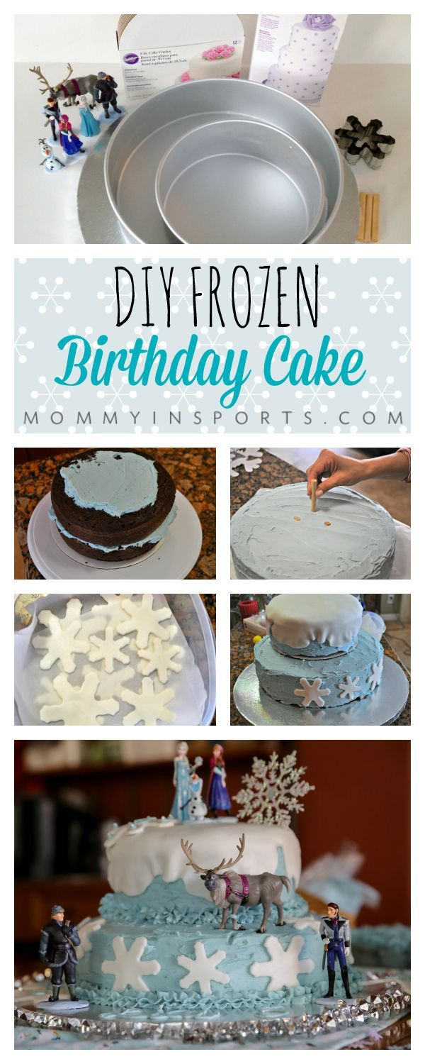 DIY Frozen Birthday Cake from mommy in SPORTS. This is super simple to make!!