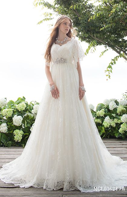 モード・マリエ No.66-0002 | Beauty Bride(ビューティーブライド)ロマンティックでフエミニンなギャザースリーブ。妖精のような透明感あふれる、可愛い立ち姿を約束します。(レースボレロ取り外し可能)