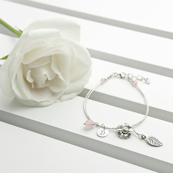 Sterling Silver Personalised 'Forget Me Not' Bracelet - Rose Quartz – Luxe Gift Store