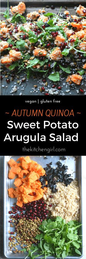 Autumn Quinoa Sweet Potato Arugula Salad with Pomegranate and Dried Cherries ; vegan