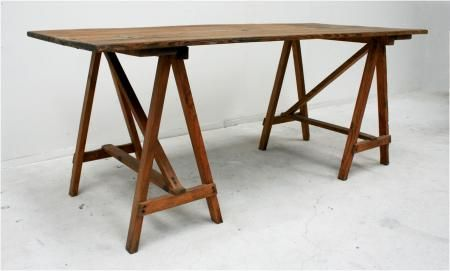 French 19th Century Studio Trestle Work Table