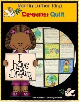 This craftivity combines writing about their dream for a better world with graphics honoring the legacy of Dr. Martin Luther King. Students can create individual quilts or you can combine several to make a class quilt. This resource includes 16 different graphic squares, 2 different lined writing squares, and blank squares which can be customized with their own designs. Your class will enjoy this project to celebrate the life and legacy of Martin Luther King.