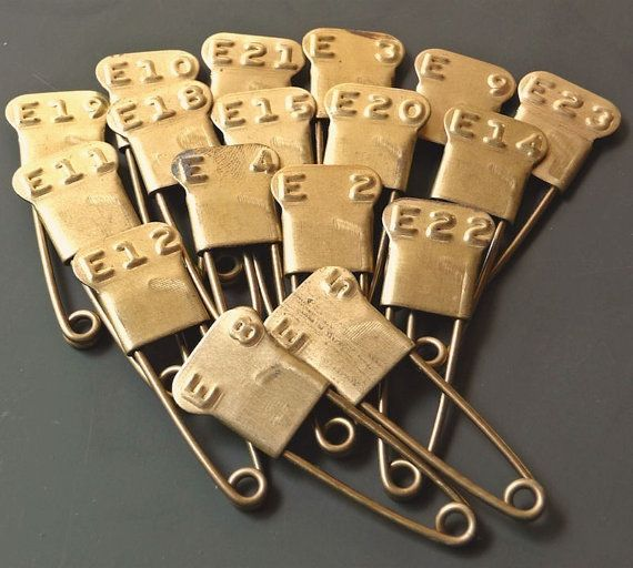 12 Vintage Laundry Pins Brass Embossed F by CreativeARTifacts, $18.00