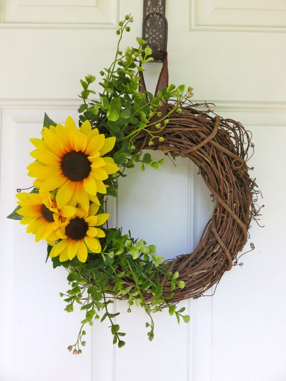 Fall Wreath for front Door Sunflower Wreath by MaineMadeWreaths