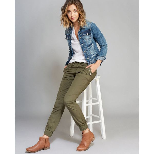 Almost Famous™ Zip Pocket Cargo Joggers ($30) ❤ liked on Polyvore featuring pants, olive, army green pants, cotton pants, woven pants, jogger pants and elastic waist pants