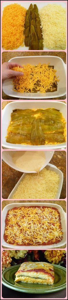 Chile Rellenos Casserole. 1½ lb. jack cheese,1 c.milk,3 eggs, 1T.corn starch, 2 cans (7 oz.) whole Ortega green chili peppers [Can use boiled poblano peppers],a dash of salt,a dash of pepper.Beat the egg whites until stiff.  Add corn starch, salt and pepper and beat. • Add milk and egg yolks and beat again. • Pour the mixture over the cheese and pepper layers in the casserole pan. Bake/oven at 350 45 min. Let stand 15 minutes. Use La Victoria gluten free mild enchilada sauce (tomato free…