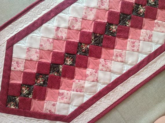Quilted table runner  romantic table runner  by PrositoQuilts