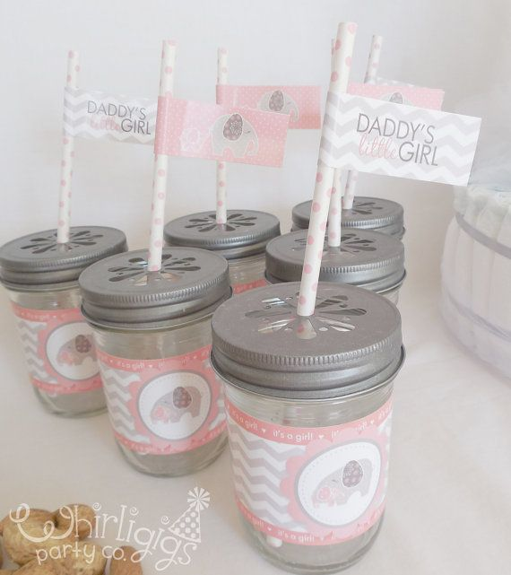 12 baby girl water bottle or glass jar wrappers with straw tags Baby of Mine Baby Shower Theme via Etsy