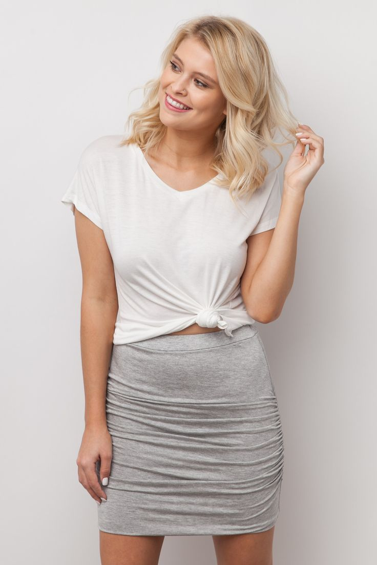 Grab the Thanks A Bunch Ruched Skirt in Grey before it sells out, your spring wardrobe will thank you! This skirt may be simple in style but with a thick elastic waistline, flattering ruched detailing