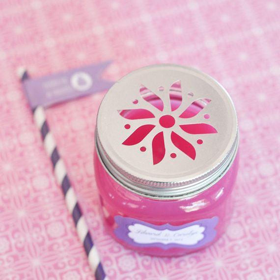 Daisy Cut Mason Jar Lids with Straws  Daisy Mason Jar by ModParty, $22.00
