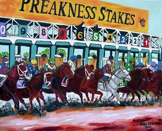 Horse Racing Preakness Exaggernator Huge Contemporary by danbyl