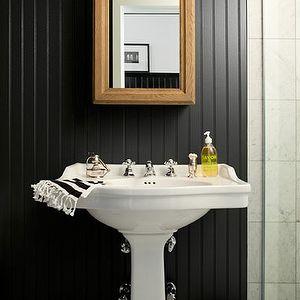 Chic Black Bathroom With Beadboard Walls Painted Glossy Black, White Pedestal  Sink, Wood Beveled Medicine Cabinet, Marble Tiles Floor And White U0026 Black  ...