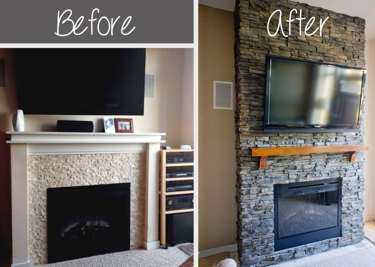 faux stone fireplace diy | DIY Stacked Stone Fireplace ...
