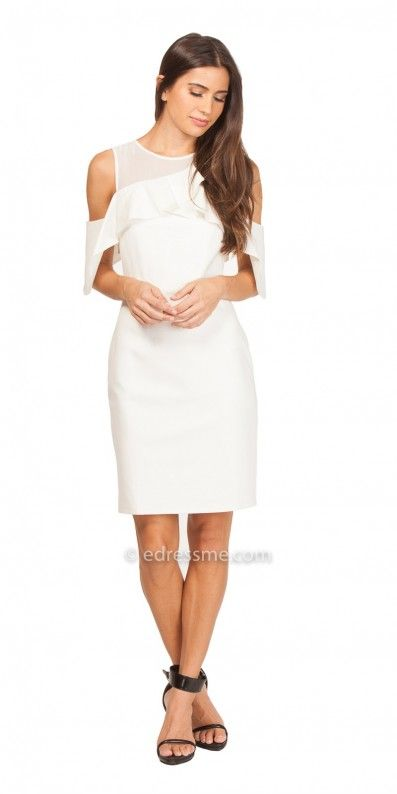 030a9ca0c25 Radiate confidence and stun your guests in the perfect Luz Knit Cold  Shoulder Sheath Dress by Adelyn Rae . This trendy ensemble features a jewel  neckline