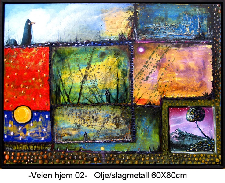 THE ROAD HOME 02  (Oil/leaf metal, 60x80 cm)  Turbulence! Why? What are we looking for?  Where are we going? We seem to be progressing.  Never a quiet day. Is this my landscape? Are these my colors?  It is not so dangerous. You are always on the way home.